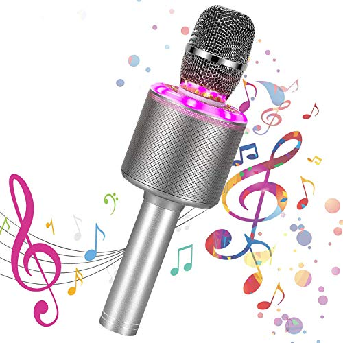 Bearbro Micrófono Karaoke Bluetooth,Máquina Portátil Karaoke,4 en 1 Microfono Inalámbrico Portátil con Luces LED Hogar KTV FfiestasNiños regalo,para iPhone/Android/iPad/PC (Color de la pistola)