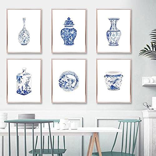LZASMMVP Acuarela Estilo Chino Porcelana Azul y Blanco jarrón de Porcelana Pintura sobre Lienzo Arte Oriental Cartel Elegante decoración del hogar Arte de Pared 30X42cmx6Pcs sin Marco