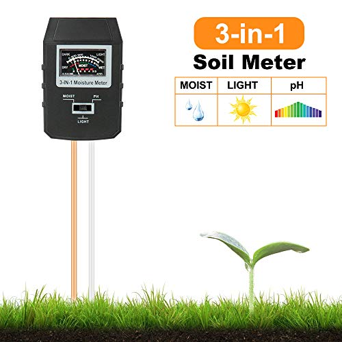Mosthink Soil Moisture Meter, 3-in-1 Moisture ph Light Tester, Plant Water Soil Monitor Testing Tool Kit for Garden, Lawn, Farm,Indoor/Outdoor (No Battery Needed)