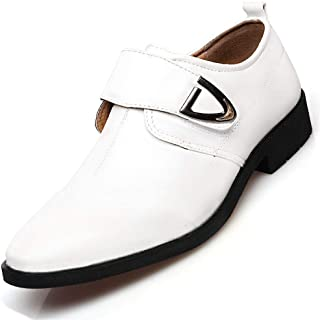 Shhdd Business casual leather shoes men's leather British pointed buckle dress breathable leather shoes (Color : White, Size : 39 EU)