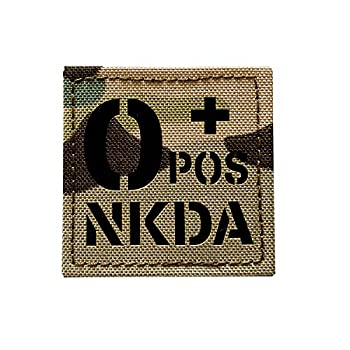 2x2 inch Multicam Infrared IR Tactical POS NKDA Blood Type Positive POS Patch with Hook and Loop  O+POS