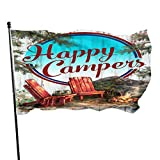 Zikely Saisonfeiertags-Yard-Flaggen-Fahne Decorative House Flags -Happy Campers Outdoor Saisonfeiertags-Yard-Flaggen-Fahne 3x5 Foot