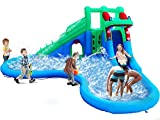 ALINUX Inflatable Water Slide, Inflatable Bouncer House with Double Slide for Wet and Dry, 5 in 1 Water Pool Slide, Without Blower
