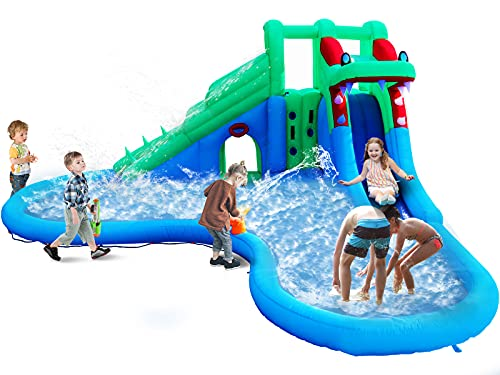 ALINUX Inflatable Water Slide, Inflatable Bouncer House with Double Slide for Wet and Dry, 5 in 1...