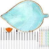 21 Pieces Nail Art Tools Kit, Resin Nail Art Palette Leaf Shape Mixing Palette and 20 Pieces Nail Art Design Brushes Golden Edge Resin Nail Holder Nail Gel Polish Colors Mixing Pallet (Blue)