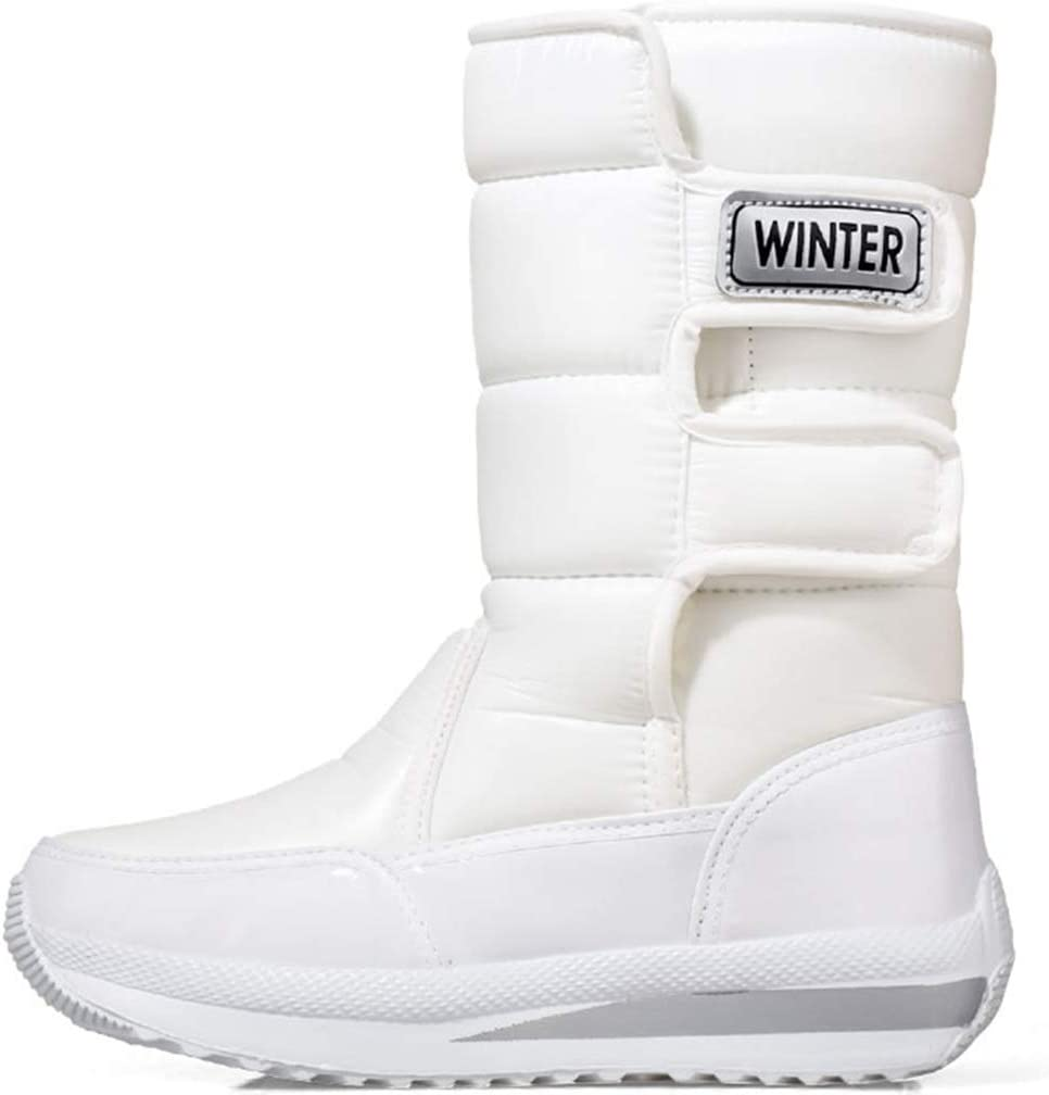 JOYGOOD Snow Boots, Thicken Warm Ladies Cotton Shoes, Outdoor Wear-Resistant Hiking Boots in Winter, Fashion Velcro Anti-Slip Ankle Boots, Easy to Put On and Take Off (Color : White, Size : US-7.5)