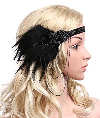 BABEYOND Damen 1920s Stirnband mit Feder 20er Jahre Stil Flapper Haarband Inspiriert von Great Gatsby Damen Kostüm Accessoires (Schwarz) - 4