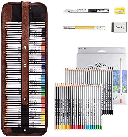 Marco Raffine Art Coloured Pencils - 72 Colours Professional Drawing Pencils with Roll UP Canvas Pouch Package for Adult Coloring Books Drawing Writing Sketching and Doodling Designs.
