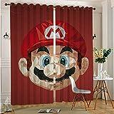 Paneles de cortina de tela para ventana de juegos y anime Super Mario 2 paneles de cocina, café, 75 x 166 cm x 2 piezas
