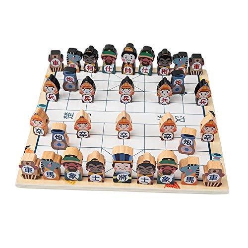 F Fityle Juego de ajedrez Chino Tradicional romántico de los Tres reinos Piezas de ajedrez Rey y Soldado Juego de Mesa para Juguete Familiar