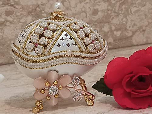 Regalos de lujo para el día de la madre Faberge Egg Pink Floral Trinket Box Only One Jewelry Present Box ExQUISITE Gift Box 24k Decoración Oro Swarovski Pearl Handset Faberge Collar y pulsera