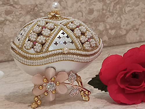 Mothers Day Presents Luxurious Gifts for women Faberge Egg Pink Floral Trinket Box Only One Jewelry Present Box EXQUISITE Gift Box 24k GOLD decor Swarovski Pearl handset Faberge NECKLACE & BRACELET