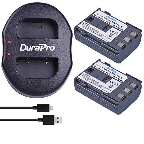 DuraPro 2St NB-2L NB-2LH Akku + Dual USB Ladegerät für Canon EOS 350D 400D MD265 MV960 PowerShot G7 G9 S70 S80 ZR950 ZR960 HG10 HV40 Kameras