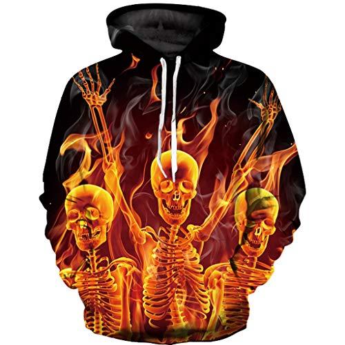 Unisex 3D-Druck Schädel Hoodies Halloween Herren Damen Kapuzenpullover Männer Casual Herbst & Winter Langarm Sweatshirt Outwear Coat Outdoor Sportjacke Sweatjacke CICIYONER