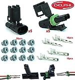 Delphi Packard 5 Completed Set (2 Circuits) Weatherpack, Waterproof, Terminal Kit 14, 16 AWG