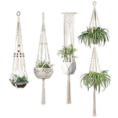 Mkono Macrame Plant Hangers Set of 4 Indoor Wall Hanging Planter Basket Flower Pot Holder Boho Home Decor Gift Box