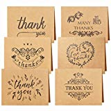 Yoloin papel Kraft Thank You Cards 24 Pieces con 24 Sobres y Pegatinas de Pegamento 6...