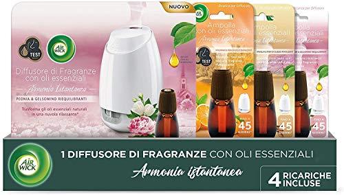 profumatore per ambienti fiori Airwick Diffusore di Oli Essenziali - 1 Confezione con un Profumatore per Ambienti e 4 Ricariche fragranze miste: 2 Peonia e Gelsomino