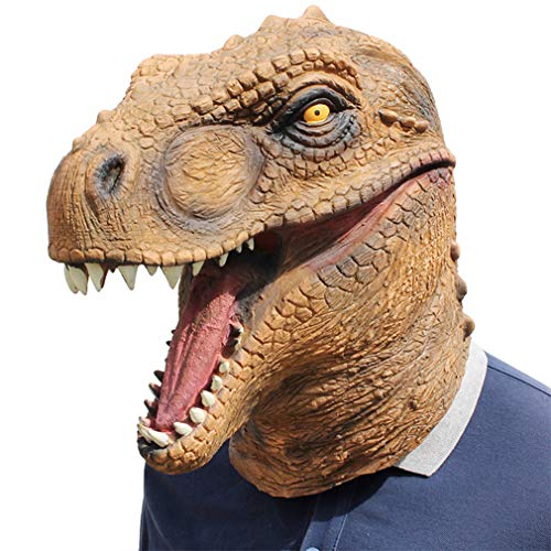 DUBAOBAO Halloween latex masker Tyrannosaurus rex dinosaur Jurassic World Animal hoofddekselmasker geschikt voor elke volwassene (zelfs als het dragen van een bril)