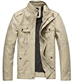 Wantdo Men's Cotton Casual Fall Windbreaker Jacket Khaki,X-Large