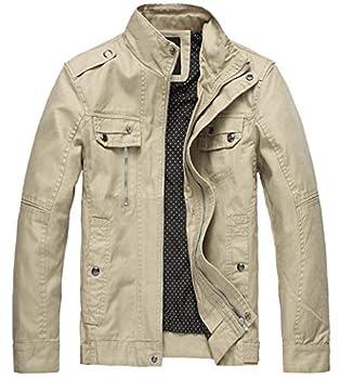 Wantdo Men s Cotton Casual Fall Windbreaker Jacket Khaki,Large