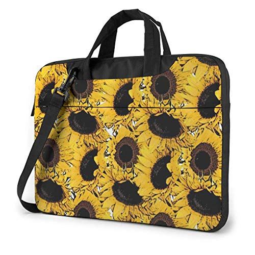 AOOEDM Laptop Case Computer Bag Sleeve Cover Yellow Sunflower Print Waterproof Shoulder Briefcase 13 14 15.6 Inch