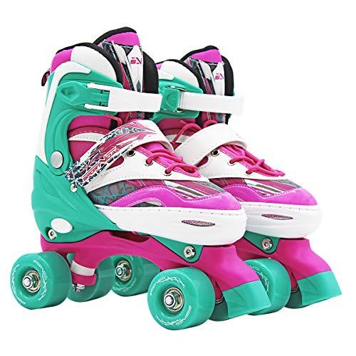 SportVida Rollschuhe für Kinder und Erwachsene Größenverstellbar 31-34 35-38 (Rosa, 35-38)