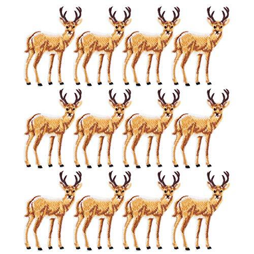 Parches para planchar, 12 piezas de tela, mochilas, jeans, abrigos, bolsa, accesorios, motivo de ciervo, bricolaje, parches para coser, pegatinas, patrón de ciervo, bordado, pegatinas de tela, parches