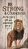 Anyuwerw Be Strong and Courageous Lion Handmade Wood Signs with Quotes Home Plaque Home Craft Sign for Women Men Housewarming Gift