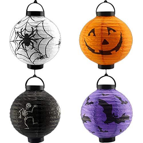 JUNGEN 4Pcs Lanterne Boule en Papier Halloween Lampion Papier Rondes Lanternes LED 3D Lantern Halloween Décorations