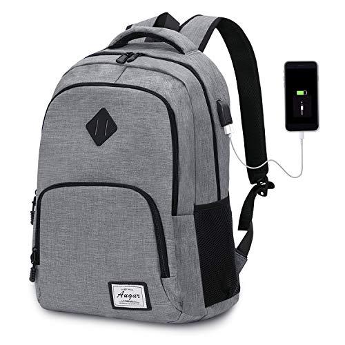 Laptop Rucksack Wasserdicht Schulrucksack Reiserucksack Damen Herren Daypacks Rucksack Grosse Kapazität Multifunktionsrucksack Diebstahlsicherung Tagesrucksack für Business 15,6 Zoll, 20-35L (Grau)