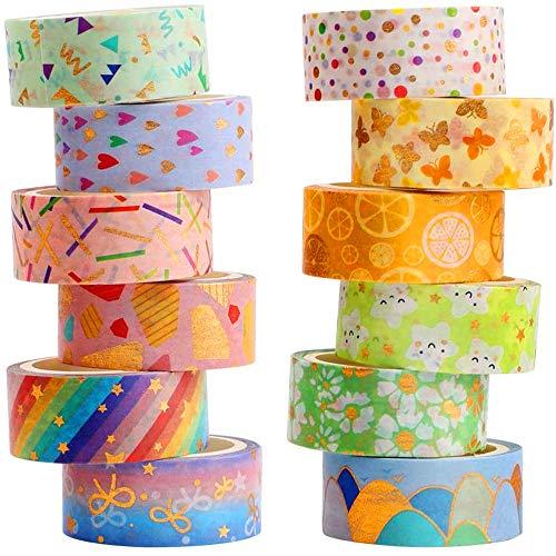YUBX Washi Tape, 12 rollos de cinta decorativa impresa de hoja dorada para manualidades de bricolaje, álbumes de recortes, boletos, diario, planificación, regalos, decoración (Candy 12)