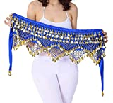 Hip Scarf with Coins Women Blue Belly Dance Skirt Gypsy Costumes Coined Wrap Skirt