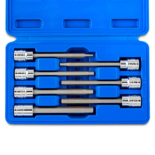 "Neiko 10076A 3/8"" Drive Extra Long Allen Hex Bit Socket Set, Metric, 3mm to 10mm 
