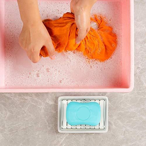 SXCYU keramische zeepschaal, dubbele laag roestvrijstalen douchezeephouder met afvoerrooster en houder voor bad, bad en, wit