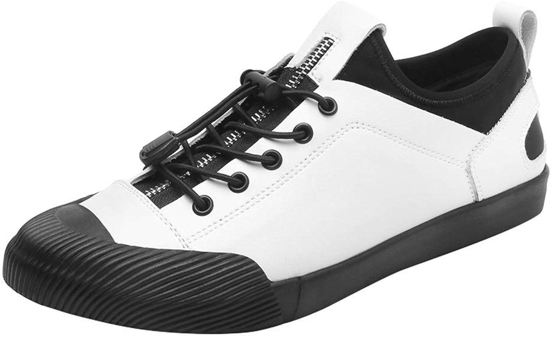 blåY QYH Ins Popular mode Sneaaker for män Sports skor skor skor Lace Up Style OX läder Anti -Collision Toe Zipper Elastisk Low Top  ingen skatt