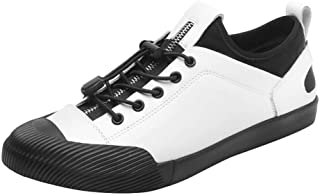 Fashion Sneaker for Men Sports Shoes Lace Up OX Leather Anti-Collision Toe Zipper Elastic Low Top Men's Boots (Color : White, Size : 7 UK)