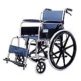 Wheelchair Leicht Falten Rollstuhl, Kohlenstoffstahl Mit Handbremsen Und Geländer Bremse Abnehmbar Einstellbar Fußstützen Mit Atmungsaktiv Polster -