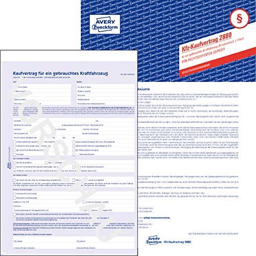 AVERY Zweckform 2880 Kaufvertrag (für ein gebrauchtes Kfz, A4, selbstdurchschreibend) 5 Stück blau