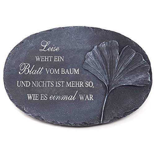 Trauer-Shop Grabplatte mit Spruch Leise weht EIN Blatt vom Baum und Nichts ist mehr so wie es einmal war. Breite 23 cm. Lieferung: 1 Stück