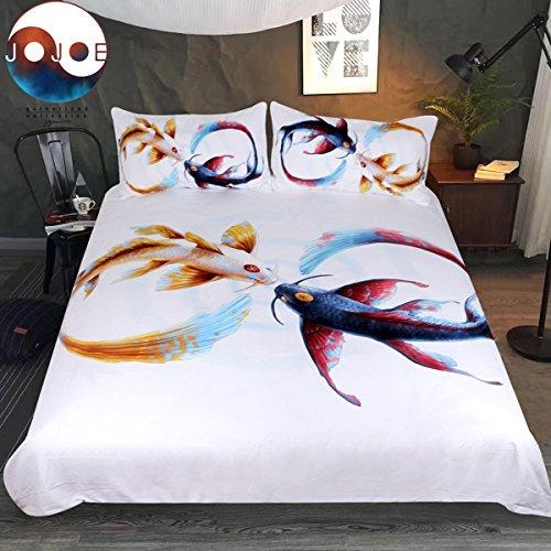 Sleepwish Fish Eternal Bond by JoJoesArt Bedding Set 3pcs Golde Red Koi Fish Bedding Fishy Carps White Bed Cover (Twin)