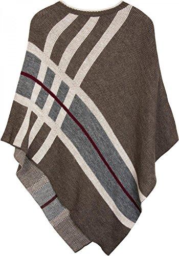styleBREAKER Feinstrick Poncho mit farblich abgesetzten Streifen, Rundhals, gestreift, Oversize Look, Damen 08010041, Farbe:Braun