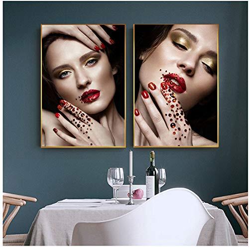 Charming Girl Diamond Nail Art Dekorationen Leinwand Poster und Druck Golden Lidschatten Frauen...