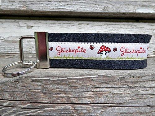 Schlüsselanhänger Schlüsselband Wollfilz schwarz grau Glückspilz beige rot!