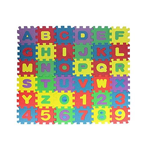 Mini puzle esterillas de protección para niños, 36 piezas, alfombra de juego infantil, alfabeto y número, puzle de espuma, azulejos de espuma entrelazados para niños