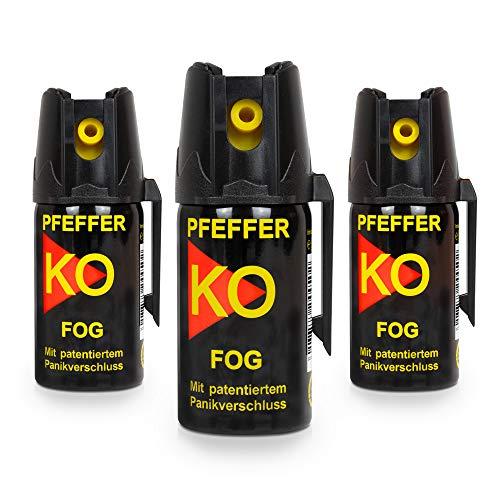 Buyemo Pfefferspray KO Fog mit Sprühnebel 40ml | Hundeabwehr Selbstschutz Abwehrspray Verteidigungsspray | (3er Set)