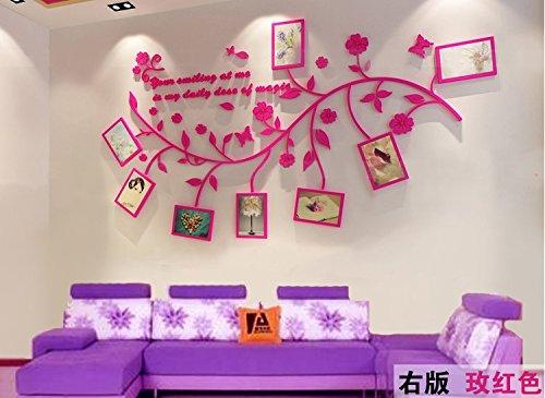 AungAoo 3D acryl kristal driedimensionale muurstickers fotolijst muur tv achtergrond muurdecoratie Stickers schilderen de woonkamer bank, rood rechts versie, in