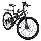 26 Inch Mountain Bike High-Carbon Steel Double Suspension Frame 21 Speed Bicycle MTB for Men & Women with Water Rack (Black, 26 Inch)