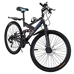Magnesium Wheel: Lightweight and durable Bicycle with high-carbon steel mountain bike double suspension, 21-speed gear. The 26-inch 6-spoke stylish rim is safer and firmer. Front and rear disc brakes and quick release. Free pedals and comfortable sea...