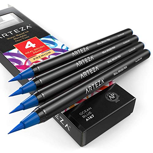 Arteza Real Brush Pens (A167 Ocean Blue) Pack of 4, for Watercolor Painting with Flexible Nylon Brush Tips, Paint Markers for Coloring, Calligraphy and Drawing